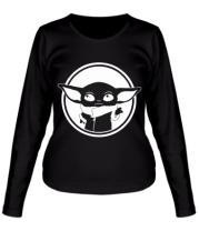 Женская футболка с длинным рукавом Baby yoda monochrom