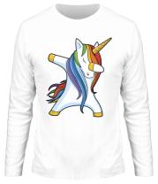 Мужская футболка с длинным рукавом Unicorn dabbing