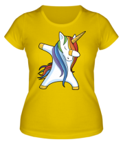 Женская футболка  Unicorn dabbing