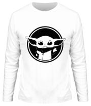 Мужская футболка с длинным рукавом Baby yoda monochrom