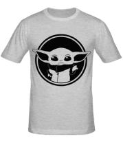 Мужская футболка  Baby yoda monochrom