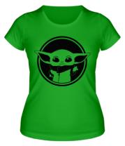 Женская футболка  Baby yoda monochrom