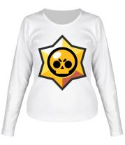Женская футболка длинный рукав Brawl Stars minimal logo