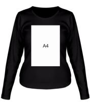 Женская футболка длинный рукав Влад А4 лист