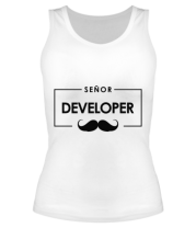 Женская майка борцовка Senor Developer