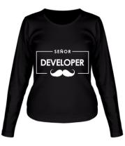 Женская футболка длинный рукав Senor Developer