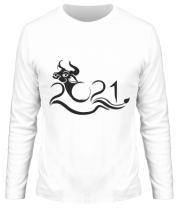 Мужская футболка длинный рукав Новый Год , Год Быка