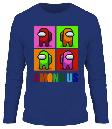 Мужская футболка длинный рукав Among us rainbow