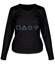 Женская футболка длинный рукав Лого Игра в кальмара 3d