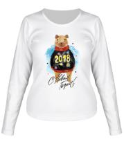 Женская футболка с длинным рукавом C новым годом 2018