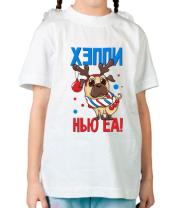 Детская футболка C новым годом собаки