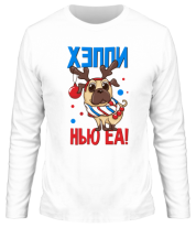 Мужская футболка с длинным рукавом C новым годом собаки