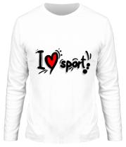Мужская футболка с длинным рукавом Я люблю спорт