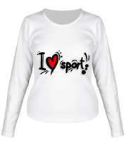 Женская футболка с длинным рукавом Я люблю спорт