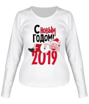 Женская футболка с длинным рукавом С Новым Годом 2019