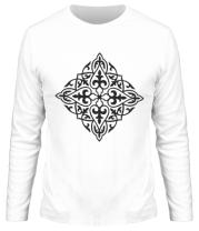 Мужская футболка длинный рукав Казахский орнамент