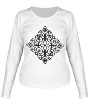 Женская футболка с длинным рукавом Казахский орнамент