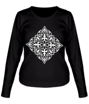 Женская футболка длинный рукав Казахский орнамент