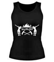 Женская майка борцовка Fortnite dancing logo