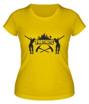 Женская футболка  Fortnite dancing logo