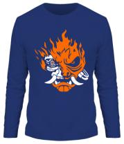 Мужская футболка с длинным рукавом Cyberpunk 2077 fire