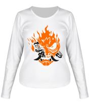 Женская футболка с длинным рукавом Cyberpunk 2077 fire
