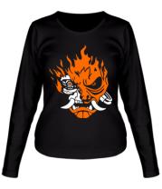 Женская футболка длинный рукав Cyberpunk 2077 fire