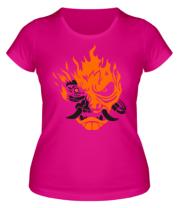 Женская футболка  Cyberpunk 2077 fire
