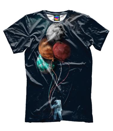 Мужская футболка 3D Поездка в космос