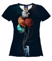 Женская футболка 3D Поездка в космос