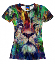 Женская футболка 3D Лев