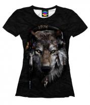 Женская футболка 3D Волк в наушниках