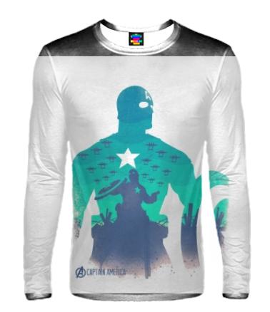 Мужская футболка с длинным рукавом 3D Captain America