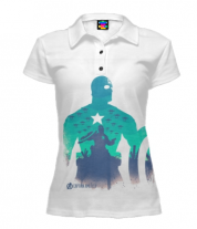 Футболка поло женская 3D Captain America