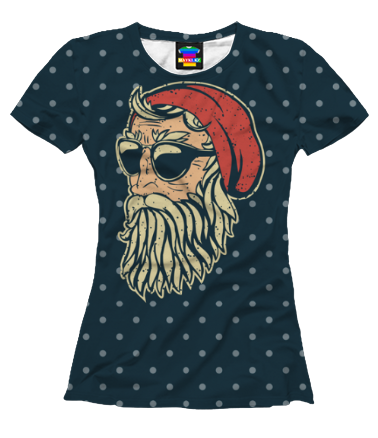 Женская футболка 3D Санта Хипстер