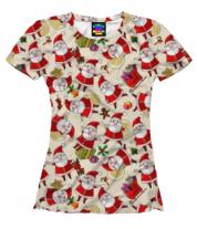 Женская футболка 3D Новый год дедморозики