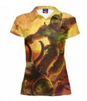 Футболка поло женская 3D Doom