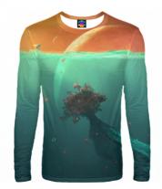 Мужская футболка с длинным рукавом 3D Земля
