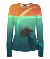Женская футболка с длинным рукавом 3D Земля