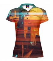 Футболка поло женская 3D Abstract city