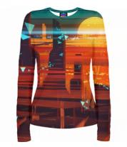 Женская футболка с длинным рукавом 3D Abstract city
