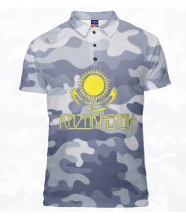 Футболка поло мужская 3D Kazakhstan