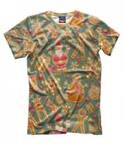 Мужская футболка 3D Стикеры новогодние