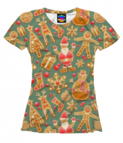 Женская футболка 3D Стикеры новогодние