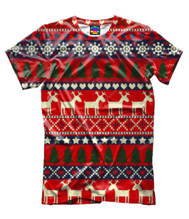 Мужская футболка 3D Новогодний принт