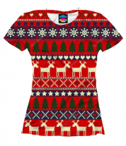 Женская футболка 3D Новогодний принт