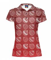 Футболка поло женская 3D Ёлочные украшения