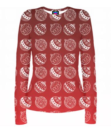 Женская футболка с длинным рукавом 3D Ёлочные украшения