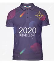 Футболка поло мужская 3D New Year 2020
