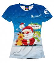 Женская футболка 3D Santa
